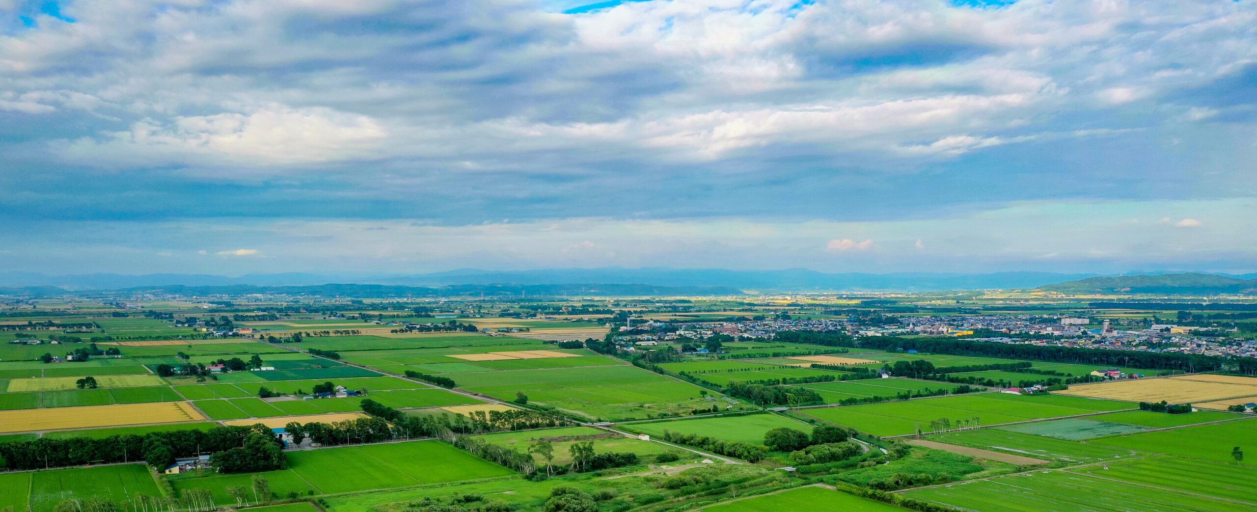 ドローンから見た南幌町の田園風景